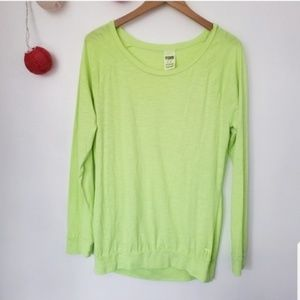 PINK Victoria's Secret neon green long sleeve M